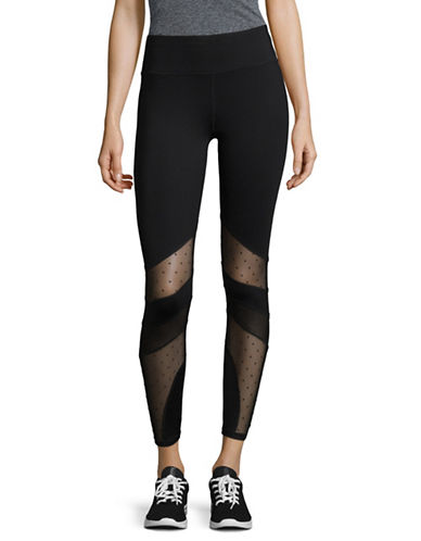 Ivanka Trump Mesh Inset Leggings-BLACK-X-Large