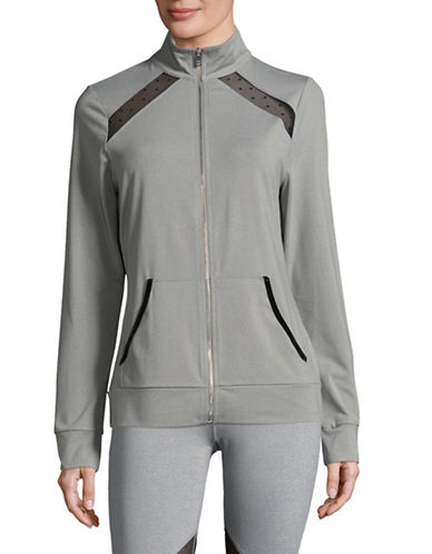 Ivanka Trump Performance Jacket with Dotted Mesh-GREY/BLACK-Small
