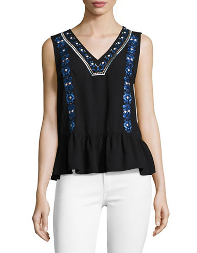 Ivanka Trump Embroidered Peplum Top-BLACK-X-Small