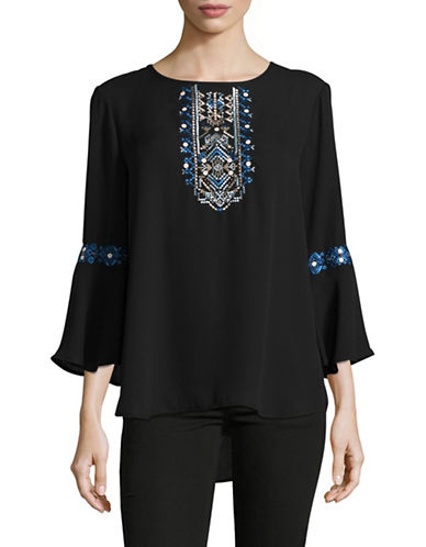 Ivanka Trump Embroidered Bell-Sleeve Peasant Top-BLACK-X-Small