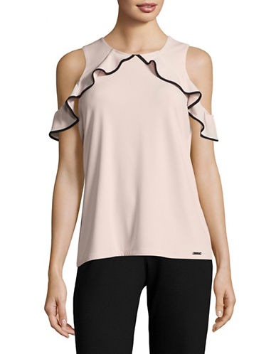 Ivanka Trump Cold-Shoulder Top-PINK/BLACK-Small