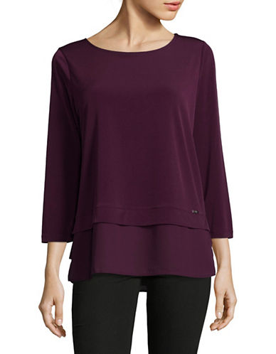 Ivanka Trump Georgette Knit Layer Top-RED-Small