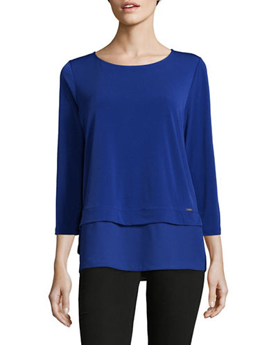 Ivanka Trump Georgette Knit Layer Top-BLUE-Small