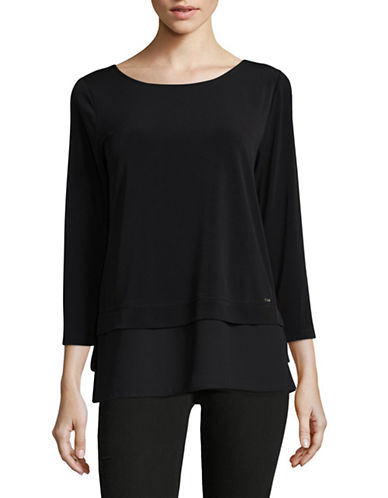 Ivanka Trump Georgette Knit Layer Top-BLACK-X-Small 89378250_BLACK_X-Small