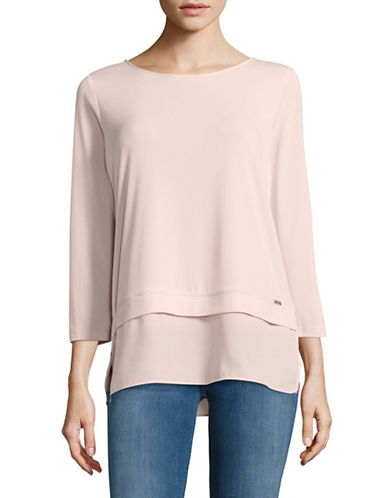 Ivanka Trump Georgette Knit Layer Top-PINK-Small 89378267_PINK_Small