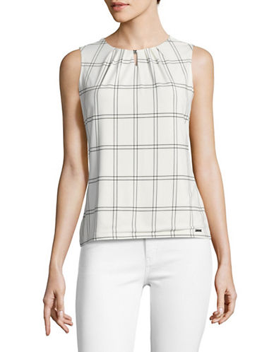 Ivanka Trump Jersey Keyhole Top-IVORY/BLACK-Large
