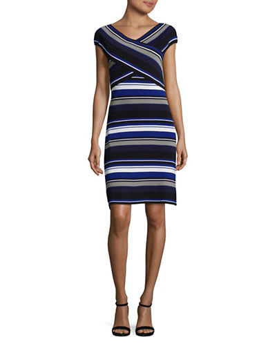 Ivanka Trump Striped Knit Dress-MULTI-Large