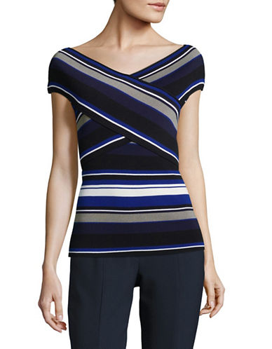 Ivanka Trump Striped Crossover Knit Top-BLUE MULTI-X-Large