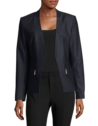 Ivanka Trump Zip-Pocket Open Blazer-BLUE-10