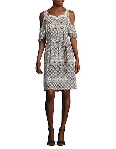 Ivanka Trump Printed Cold-Shoulder Dress-BLACK MULTI-Small