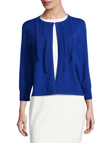 Ivanka Trump Ruffle Trim Cardigan-BLUE-Large