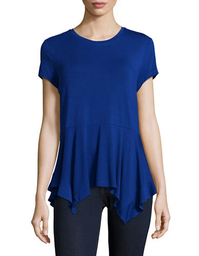 Ivanka Trump Drape Hem T-Shirt-BLUE-Large