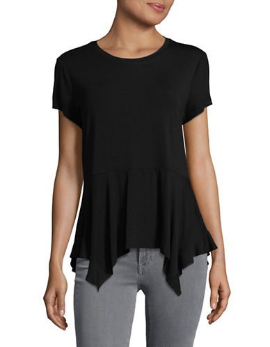Ivanka Trump Drape Hem T-Shirt-BLACK-X-Small