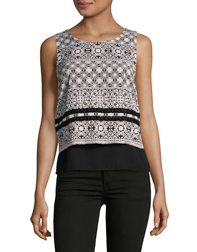 Ivanka Trump Layered Crop Top-BLACK MULTI-Large