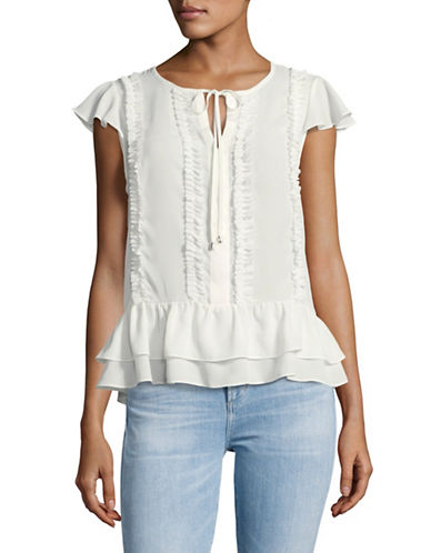 Ivanka Trump Ruffled Flutter-Sleeve Top-NATURAL-X-Small