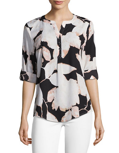 Ivanka Trump Roll Sleeve Floral Blouse-BLACK/IVORY-Medium