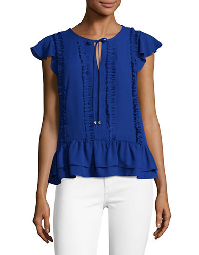 Ivanka Trump Ruffled Flutter-Sleeve Top-BLUE-Medium