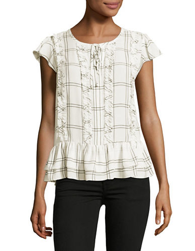 Ivanka Trump Printed Ruffle Top-NATURAL-Large