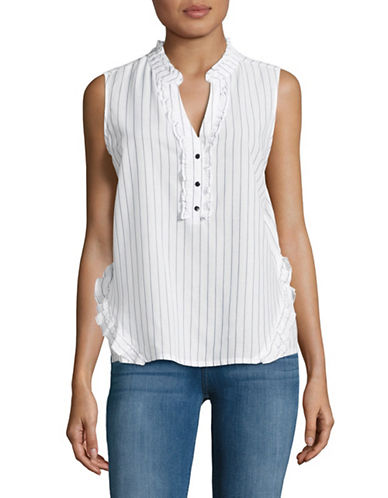Ivanka Trump Pinstripe Ruffled Blouse-WHITE-Medium