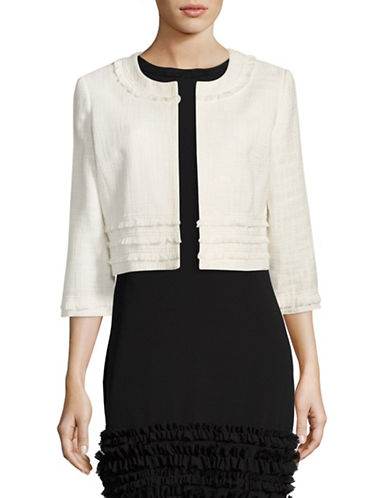 Karl Lagerfeld Paris Tweed Cropped Jacket Topper-WHITE-Large