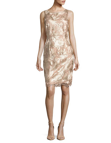 Ivanka Trump Sleeveless Leaf Lace Sheath Dress-CHAMPAGNE-10