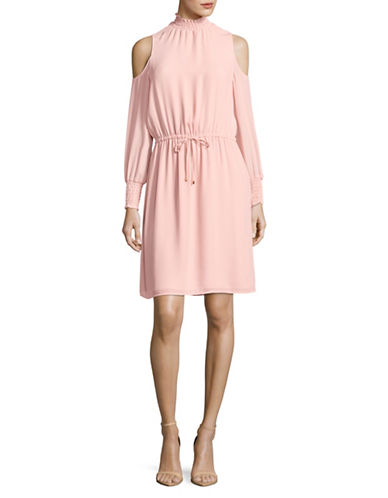 Ivanka Trump Cold-Shoulder Tie-Waist Dress-BLUSH-8