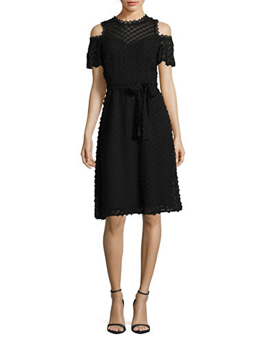 Ivanka Trump Cold Shoulder Chiffon Floral Dress-BLACK-2