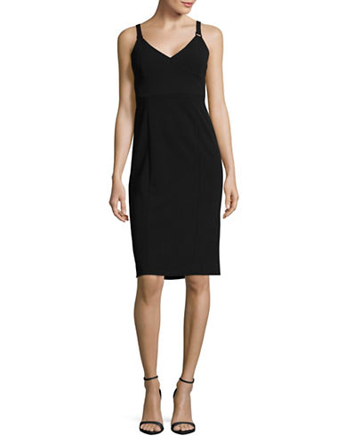 Ivanka Trump Hardware Strap Sheath Dress-BLACK-2
