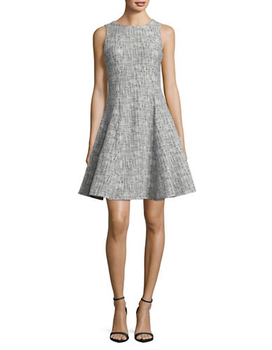 Ivanka Trump Sleeveless Fit-and-Flare Dress-NAVY/IVORY-14
