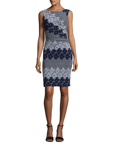 Ivanka Trump Floral Jacquard Bodycon Dress-NAVY MULTI-6
