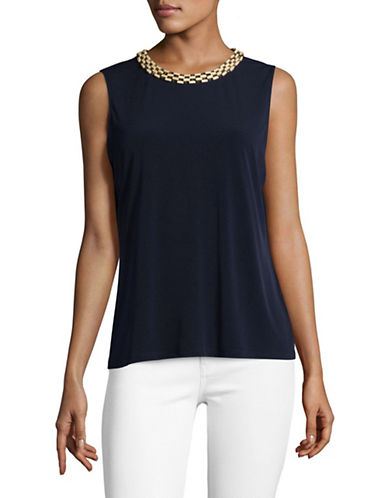 Karl Lagerfeld Paris Beaded Neck Knit Sleeveless Blouse-BLUE-Medium