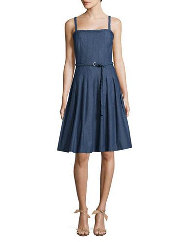 Karl Lagerfeld Paris Braided Trim Denim Fit-and-Flare Dress-BLUE-12