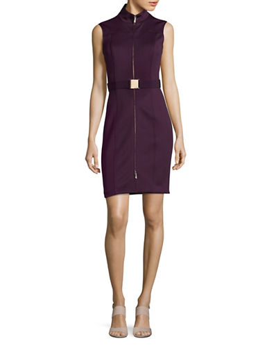Tommy Hilfiger Belted Zip-Front Scuba Dress-AURBERGINE-14