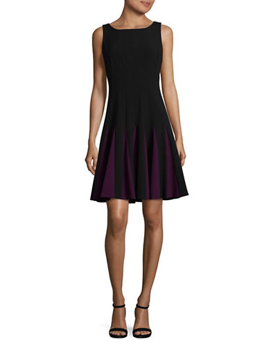 Tommy Hilfiger Bistretch Godet Fit-and-Flare Dress-BLACK/AURBERGINE-4