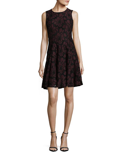 Tommy Hilfiger Sleeveless Lace Fit-and-Flare Dress-PINOT/BLACK-12