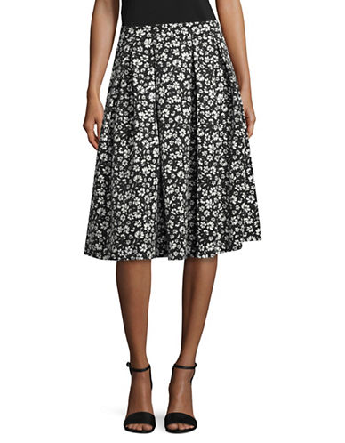 Karl Lagerfeld Paris Pleated A-Line Skirt-BLACK/WHITE-12
