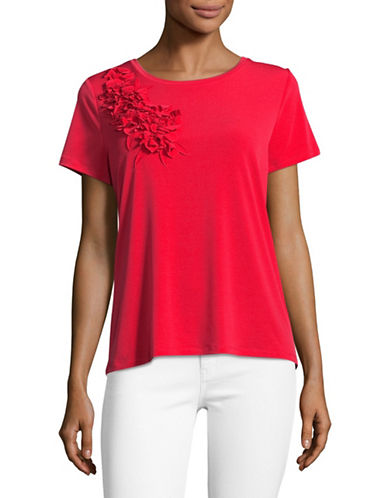 Karl Lagerfeld Paris Floral Corsage Knit Top-POPPY-Medium