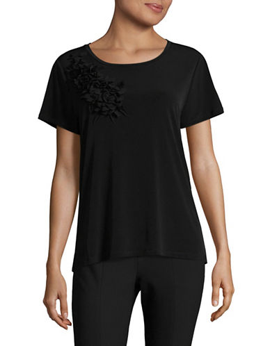 Karl Lagerfeld Paris Floral Corsage Knit Top-BLACK-X-Small