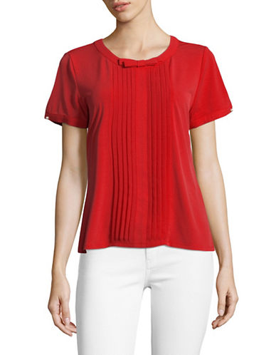Karl Lagerfeld Paris Short Sleeve Pleat Front Bow Blouse-ORANGE-Large