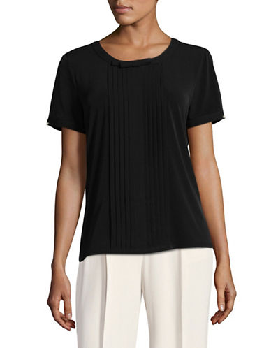 Karl Lagerfeld Paris Short Sleeve Pleat Front Bow Blouse-BLACK-Small