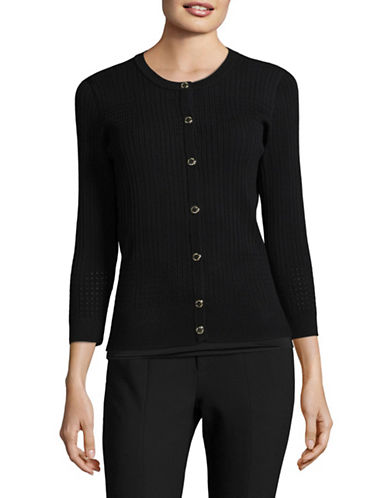 Karl Lagerfeld Paris Pointelle Cardigan-BLACK-Medium