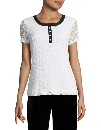 Karl Lagerfeld Paris Crinkle Lace Blouse-WHITE-Medium