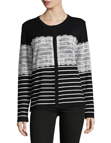Karl Lagerfeld Paris Lace and Stripe Cardigan with Lace-BLACK/WHITE-X-Large