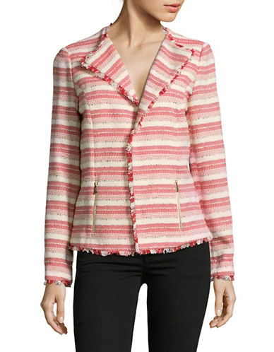 Karl Lagerfeld Paris Striped Tweed Jacket with Fringes-POPPY MULTI-10
