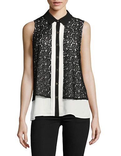Karl Lagerfeld Paris Sleeveless Lace Overlay Blouse-WHITE/BLACK-Small