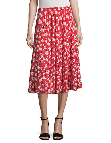 Karl Lagerfeld Paris Floral Midi Skirt-RED MULTI-10