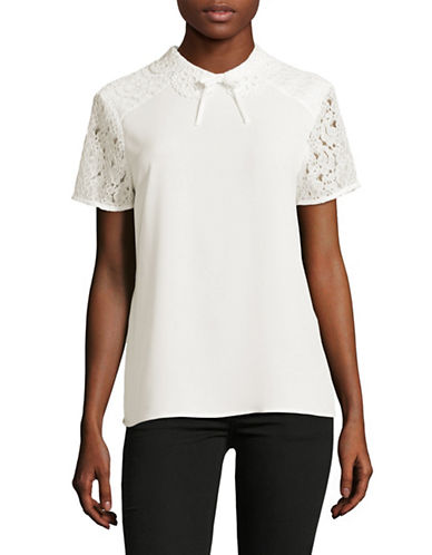 Karl Lagerfeld Paris Scalloped Collar Lace Blouse-WHITE-Small