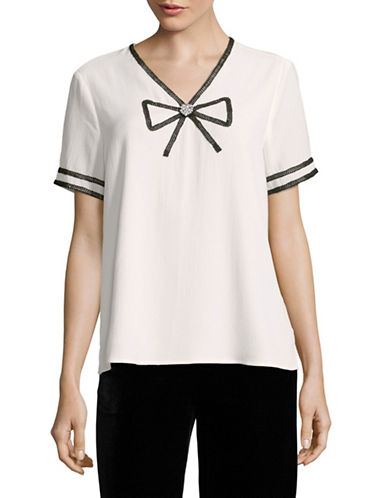 Karl Lagerfeld Paris Bow Trim Blouse-WHITE/ BLACK-Large