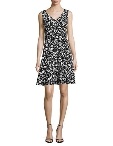 Karl Lagerfeld Paris Floral Print Flared Dress-BLACK/WHITE-6