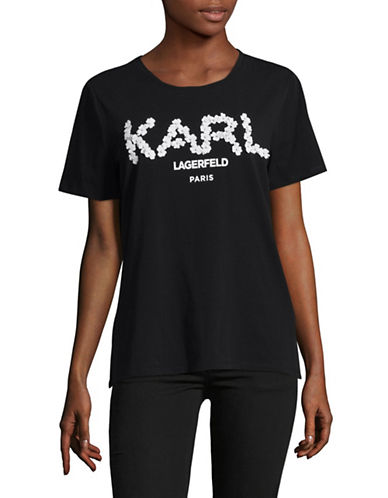 Karl Lagerfeld Paris Flower Applique T-Shirt-BLACK-Small